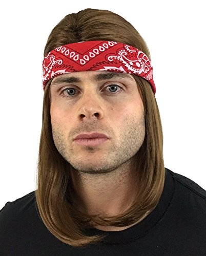 2 pc. Premium Brown Rocker Wig + Red Bandana: Classic Rockstar Wig 90s 80s 70s Rock Wigs for Men Women Kids Adults 1970s Kid's Rocker Costumes Rock Star Wigs Halloween Men's Wigs Rockstar Costume Wig for $<!--$24.95-->