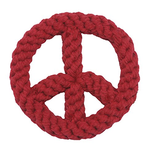 Jax and Bones Peace Sign Red Good Karma Rope Dog Toy, (Giraffe Peace Sign)