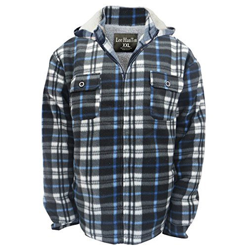 Eurogarment Winter Heavy Warm Sherpa Lined Fleece Plaid Flannel Jacket Men Plus Size S-5XL Big&Tall Mens Coat (X-Large, Blue as Shown) Lined Barn Jacket