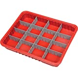 Plastic Dividable Grid Container, 22-1/2''L x 17-1/2''W x 3''H, Red - Lot of 6