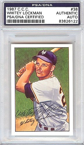 Whitey Lockman Signed 1952 Bowman Reprints Card #38 New York Giants - PSA/DNA Authentication - Autographed MLB Baseball Cards from Sports Collectibles Online