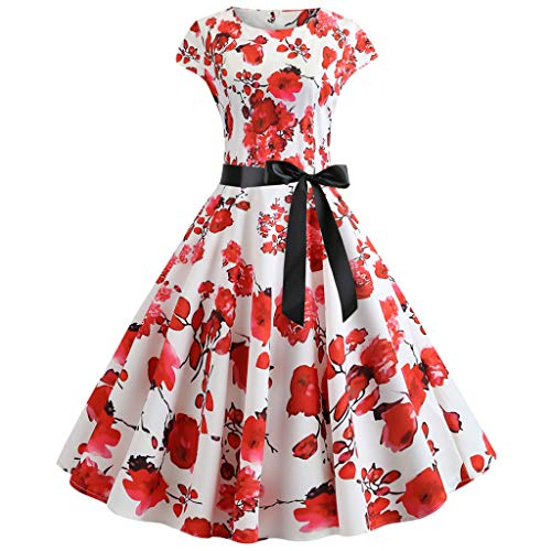 TOTOD Vintage Dress Women Elegant Floral Print Dresses - O Neck Evening Party Swing Dress