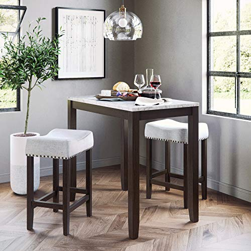 Nathan James 41202 Viktor Dining Set Kitchen Pub Table Marble Top Fabric Seat Wood Base, Light Gray/Dark Brown by Nathan James (Image #2)