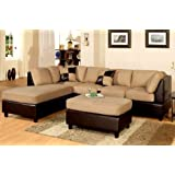 Poundex New Two Tone Leatherette And Micro Suede Sectional Sofa Set With  Ottoman Includes Pillows,