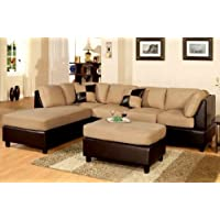 Poundex New Two Tone Leatherette and Micro Suede Sectional Sofa Set with Ottoman Includes Pillows, Reversible Chaise, Brown