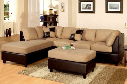 Vinyl Sectional Couch - Poundex New Two Tone Leatherette and Micro Suede Sectional Sofa Set with Ottoman Includes Pillows, Reversible Chaise, Brown