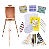Deluxe Painting Set & Art Supply Kit - 121 Pieces of Professional Custom Artist Paint Tools with Adjustable Easel & Sketch Box, Acrylic Oil & Watercolors, Stretched Canvas, Brushes & So Much More