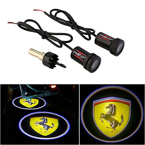 CHAMPLED For FERRARI Laser Projector Logo Illuminated Emblem Under Door Step courtesy Light Lighting symbol sign badge LED Glow Car Auto Performance Tuning - Symbol Ferrari