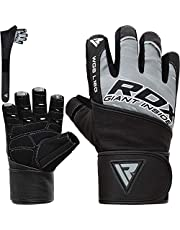 RDX Weight Lifting Gloves for Gym Workout, Leather Long Wrist Strap, Anti Slip Palm Protection, Great Grip for Fitness, Bodybuilding, Powerlifting, Strength Training, Cycling & Exercise