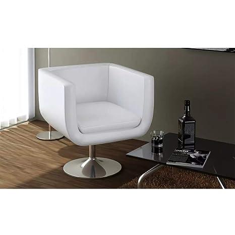 vidaXL Sillón Salón Bar Giratorio Moderno Cuero Artificial Blanco Silla Hogar