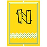 ''N '' Wood Initial Monogram Personalized Letter N Blue Room Nursery Décor METAL Sign Yellow