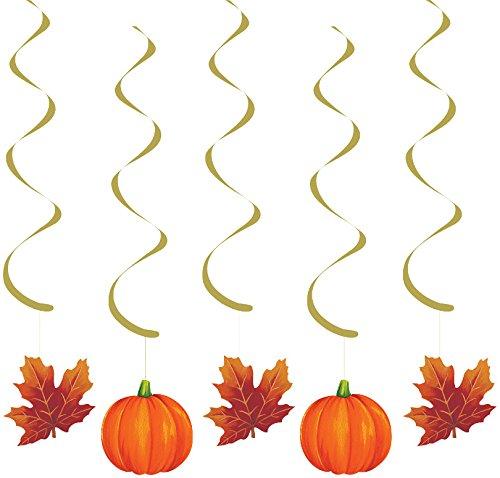 Creative Converting 5 Count Pumpkins and Leaves Dizzy Danglers, Orange