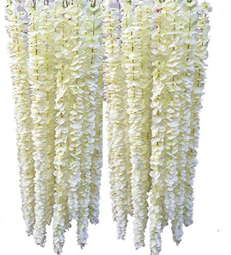 Calcifer 39.37'' Set of 10 Artifical Wisteria String Hanging Silk Flower String for Garden Floral Decoration DIY Living Room Hanging Flower Plant Vine Home Party Wedding Simulation Decor - Strings Flower