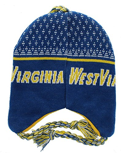West Virginia Mountaineers Beanie Winter Hat with Earflaps   Tassels    Sports   Outdoors c66c4c0fb216