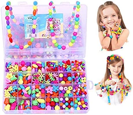 Anlising Beads Kits Set for Kids Children Craft Jewelry Making Craft DIY Necklace Bracelets Colorful Acrylic Crafting Beads Girls Gift for Children/'s Day Christmas