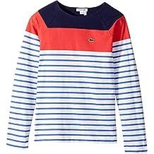 Lacoste Kids Womens Long Sleeve Stripe Color Block Tee (Toddler/Little Kids/Big Kids)