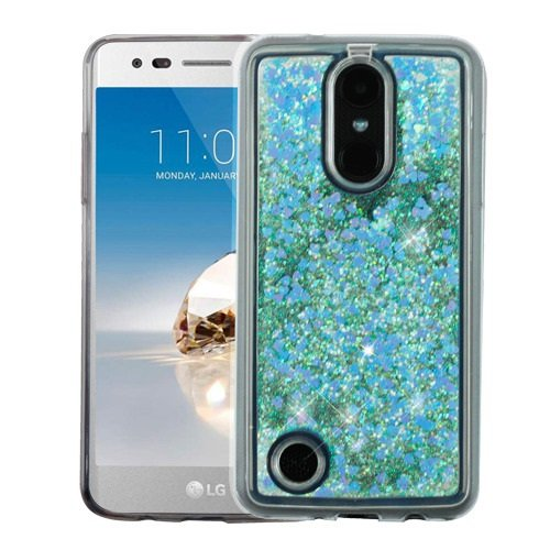LG FORTUNE, PHOENIX 3, LV3, REBEL 2, ARISTO Case, Casey Case, [Sparkle Bling] [Flowing Liquid Quicksand Glitter Sand] Protective Hybrid TPU Bumper Back Cover (Heart Blue)