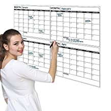 Best Jumbo Laminated Dry Erase or Wet Erase 4 Month Wall Calendar 38 x 45 inches Large Daily squares to plan your whole day or month Perfect for Office, College, Home, and Schools. Proudly Made in USA