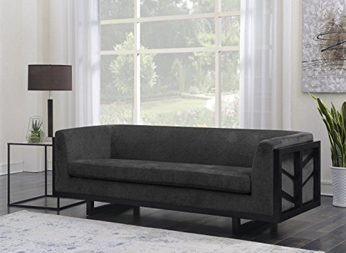 Iconic Home Arianna Sofa Linen-Textured Upholstery Espresso Finished Lattice Wood Frame, Modern Transitional, Black (Lattice Onyx)