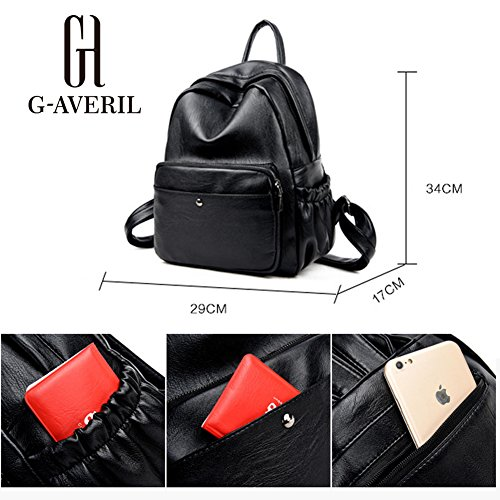 G-AVERIL GA1107-B - Bolso mochila  para mujer negro negro negro