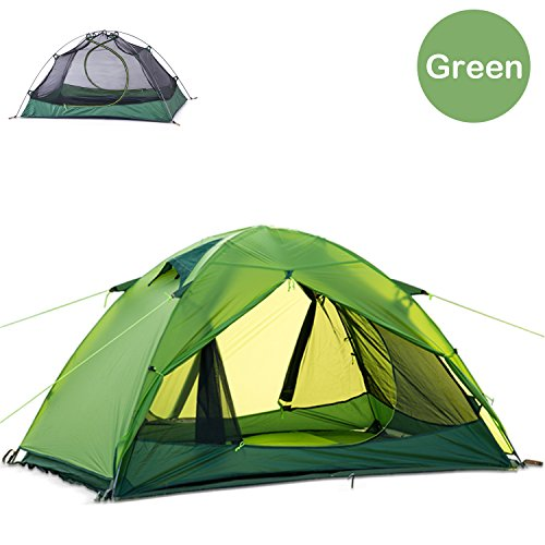 Naturehike Ultralight 2 Person 3 Season Backpacking Tent for Camping, Silicone Coated Lightweight Waterproof Two Doors Double Layer Anti-UV with Aluminum Rods for Outdoor Family Beach Hunting (Green)
