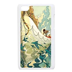 Angry Tiger Series,Ipod Touch 4 Case,Tiger On Boat Phone Case For Ipod Touch 4[White]