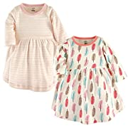 Touched by Nature Baby Girls 2-Pack Organic Cotton Dress, Feathers, 3-6 Months