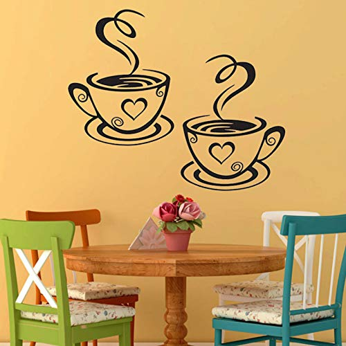 (Kitchen Decoration - 1sheet Coffee Cups Cafe Tea Wall Stickers Art Vinyl Decal Pub Restaurant Decor Modern Diy - To Flamingo Coffee Falls Canvas Blue Table Statues Spoon)