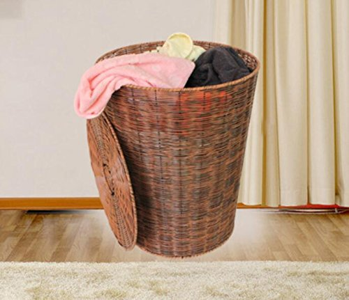 YZL/ Dirty clothes storage basket rattan basket storage box/simulation/laundry basket/dirty barrel storage baskets/laundry basket , yellow brown by KAIMENDAJI