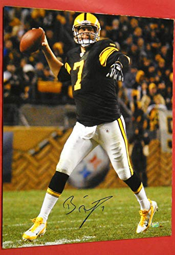 - BEN ROETHLISBERGER AUTOGRAPHED PITTSBURGH STEELERS 16X20 PHOTO MM THROWBACK