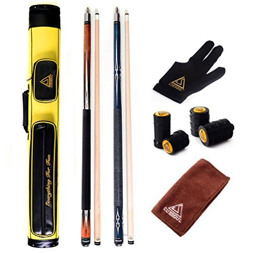 CUESOUL Set of House Bar Pool Cue Sticks Combo - 2 Cue Sticks Packed in 2x2 Hard Pool Cue Case E103