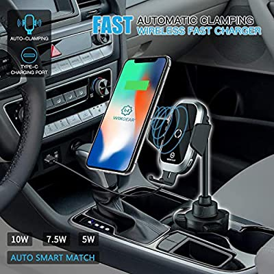 Wireless Car Charger, WixGear Auto-Clamping Fast Wireless Car Charger, Cup Phone Holder for Car, 10W Qi Fast Charging Compatible iPhone 11, Xs/MAX/XS/XR/X/8/, Samsung S10/S9/S8- Full Automatic Arms: Home Audio & Theater