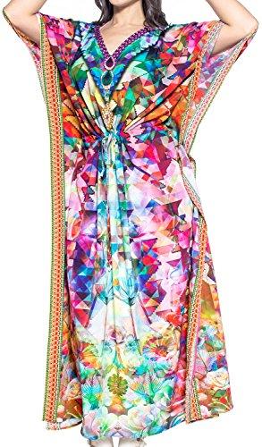 del de Multicolor Mano Camisa baño v569 rayón Mujeres baño Dormir de del de Las caftán de LEELA Vestido Aloha Trajes Maxi Traje LA caftán TqHICI