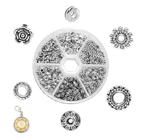 Mandala Crafts Assorted Tibetan Metal Accent Charm Spacer Finding Beads with Holes for Bracelet Necklace Jewelry Making (6 to 7 mm, Antique Silver Color) ()