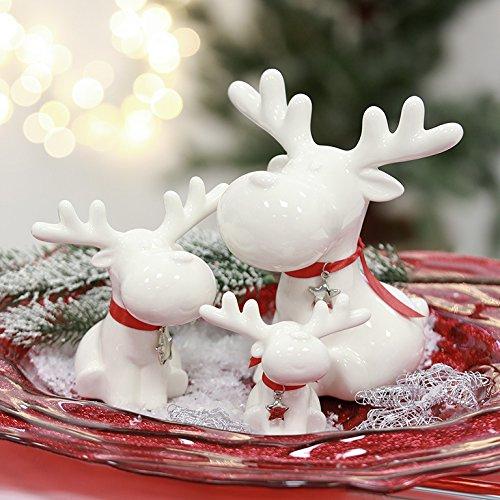 Rentier Eddy Porzellan weiß rotes Halsband Metallstern Höhe 8,5 cm, Weihnachten, Tiere, Christmas, Deko