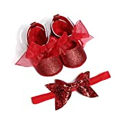 oklady Toddler Baby Boy Girls Denim Bow Knot Sandals First Walker Shoes (0-6 Months, Red 2)