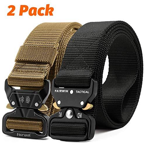 Fairwin Tactical Belt, 2 Pack 1.5 Inch Military Tactical Belts for Men - Carry Tool Belt (Black+Tan, Waist 30