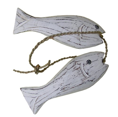 Cohasset 303W2 2-Piece 6-Inch Wooden Fish Set, White