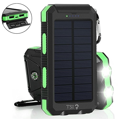 Solar Charger 30000mAh Power Bank Portable Backup Battery Waterproof Panel Charger for Cellphone,Tablet and Most Gadget w/ Dual USB, LED Light, Compass, Hook for Indoor and Outdoor Charging (Green)