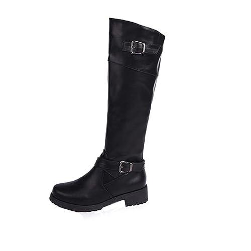 Koly Mujeres Invierno Otoño Botas planas zapatos cuero pierna alta Botas largas Dedo redondo Botas media