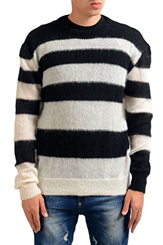 Just Cavalli Men's Wool Mohair Striped Crewneck Sweater US M IT 50 (Mohair Sweater Wool)