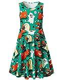 Girls Summer Sleeveless Dress Halloween Ghost Pumpkin Black Cat Hat Printed Dress for Kids 10-13T