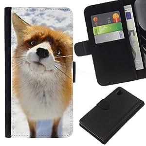 KingStore / Leather Etui en cuir / Sony Xperia Z1 L39 / Arctic Fox lindo Nieve Naranja Goofy Animal