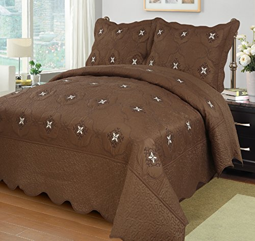 MarCielo 3-Piece Fully Quilted Embroidery Quilts Bedspreads