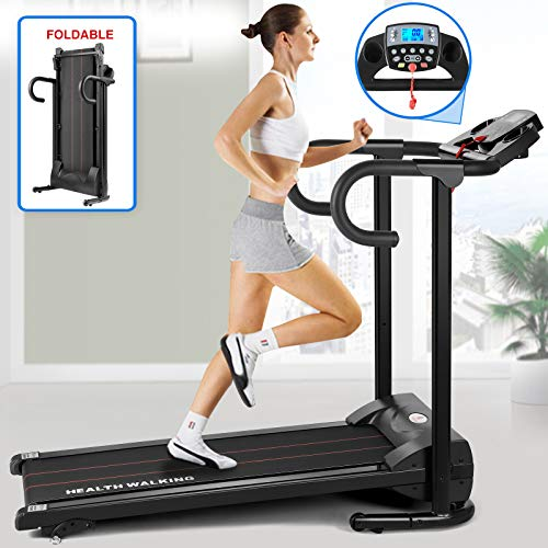 Fitnessclub Folding Electric Motorised Treadmill Walking Running Machine Adjustable Incline Fitness Exercise Cardio Jogging Speed 10.0KM/H Designed Emergency System Low Noise Powerful Motor