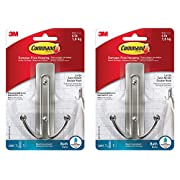 Command Large Double Bath Hook, Satin Nickel, 2-Hooks, 2-Large Water-Resistant Strips
