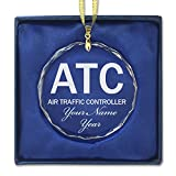 Round Crystal Christmas Ornament - ATC Air Traffic Controller - Personalized Engraving Included