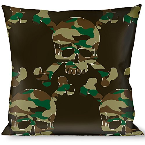 Pillow Decorative Throw Top Skulls Black Camo Olive - Olive Skull Camo