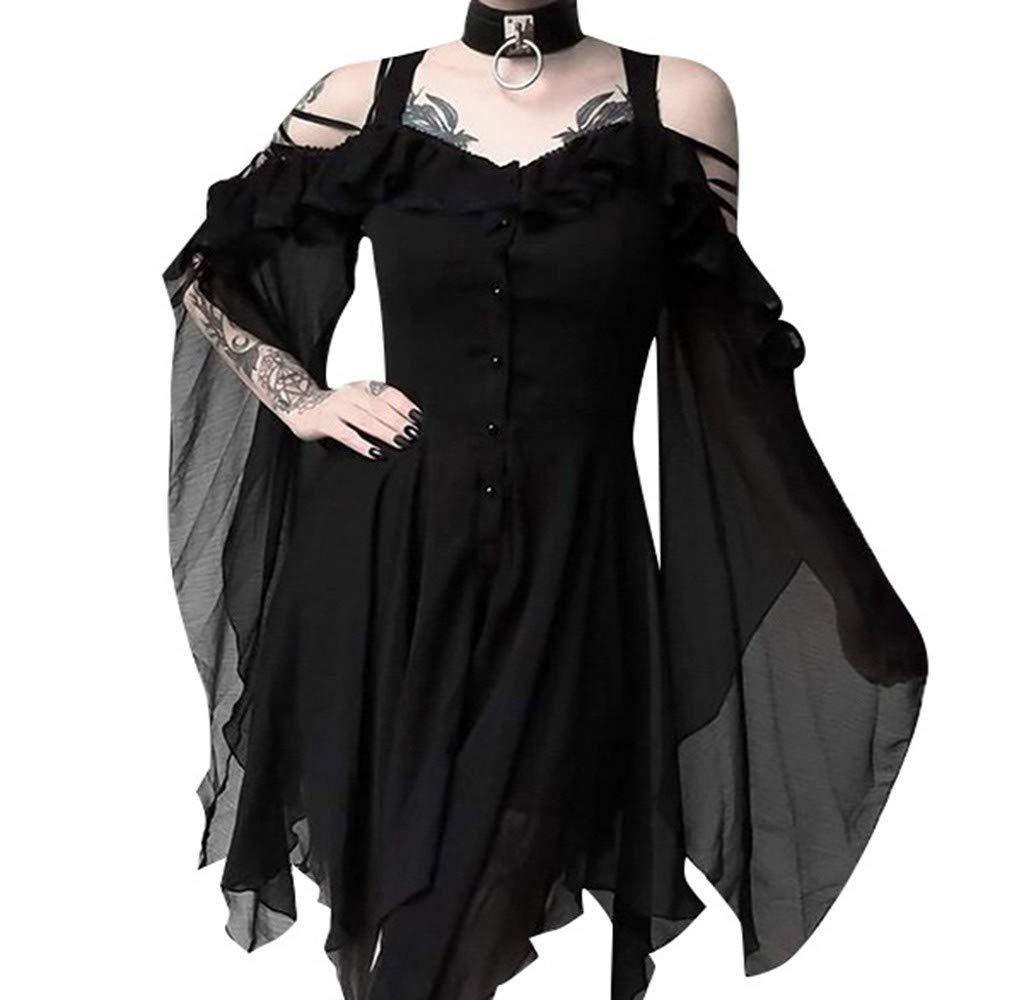 Zainafacai Women's Fashion Chiffon Midi Dress Ruffle Sleeves Off Shoulder Solid Loose Button Swing Dress