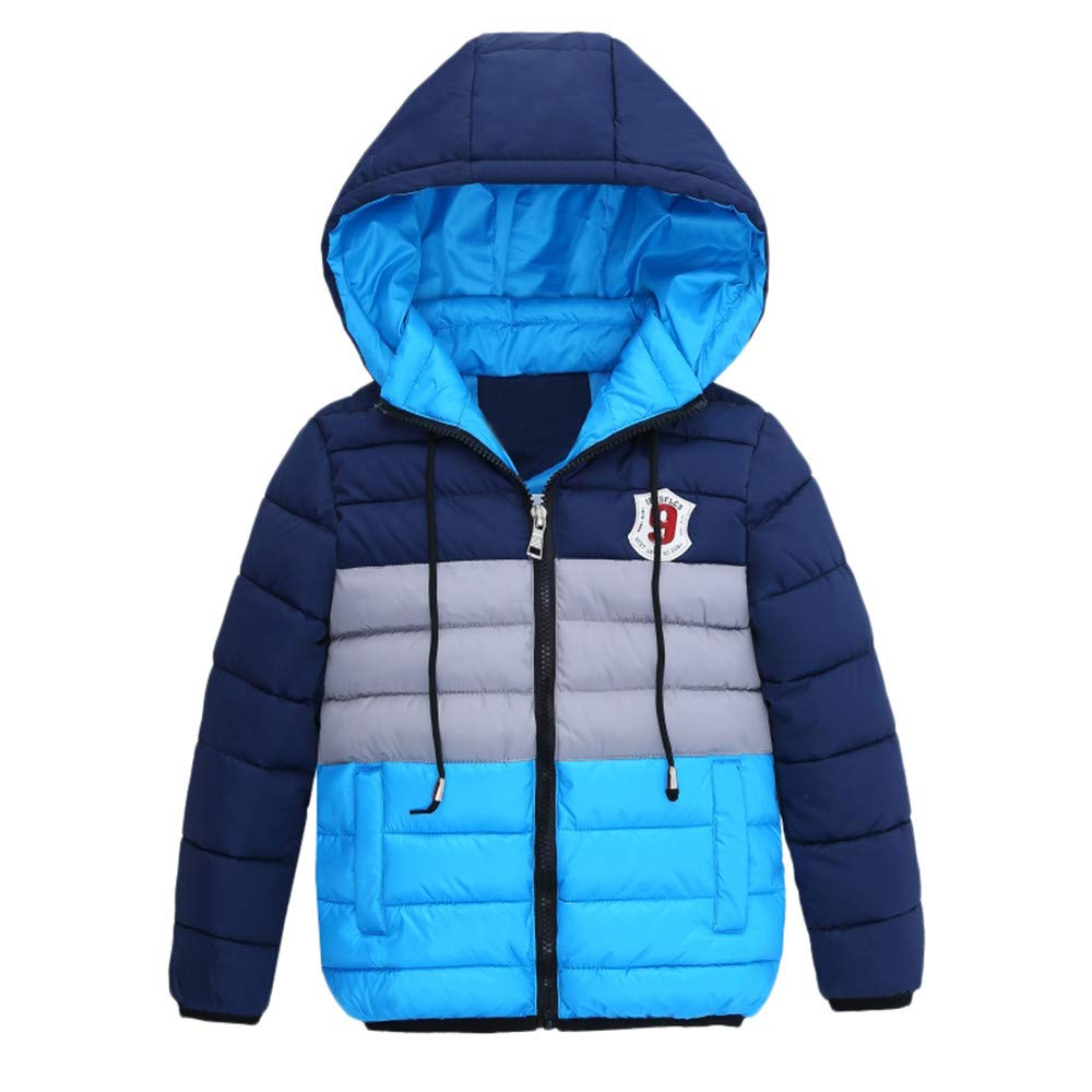 2-7 Years Boys Winter Warm Coats,Chlidren Kid Zipper Thick Hoodie Jacket Outerwear Clothes (4T, Black) Woaills-Hat